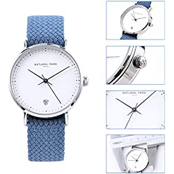 Women Dress Casual Watches with White Dial Date Nylon Strap