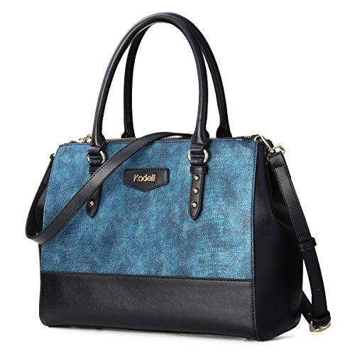 Kadell Frauen Elegant Luxus Leder Handtaschen Tote Schulter Beutel Krokodil Muster Crossbody Geldbeutel große Kapazität Blau