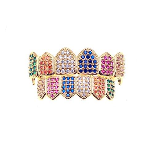 mcsays Hip Hop Zähne Grills Set Colorful Kristall Bling Grillz Fashion Jewelry für Männer Frauen Dope Geschenke