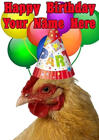 Poulet Chapeau de fête carte d'anniversaire Codecc A5 A5 A5 personnalisé carte de vœux | Grandes Variétés  31ed85