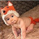 HAPPY ELEMENTS Baby Häkeln Fotokleidung Neugeborenes Fotografie Stützen Baby Stricken Wolle Material Fotografie Kostüm Cute Little Fox Style