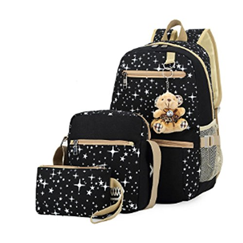 Girls Lightweight Canvas Casual Daypack School Backpack + Shoulder Bag + Pencil Case(3 PCS) (black)