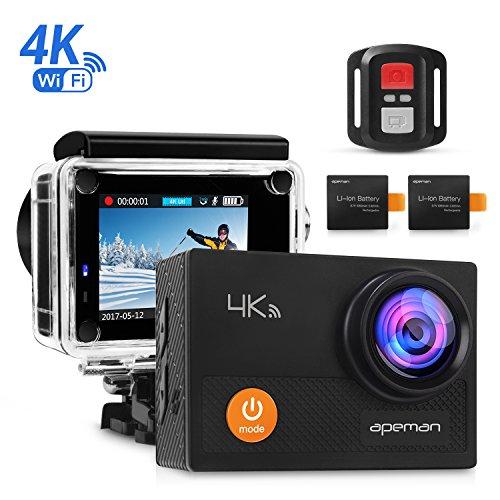 APEMAN Caméra Sport 4K WIFI 12MP Ultra HD Caméra d'Action Étanche 30M, Grand Angle 170°, Écran LCD 2', Télécommande avec 2 Batterie et inclut des Kits Complets d'Accessoires
