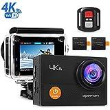 """APEMAN Caméra Sport 4K WIFI Ultra HD Caméra d'Action Étanche 30M, Grand Angle 170°, Écran LCD 2"""", Télécommande avec 2 Batterie et inclut des Kits Complets d'Accessoires"""