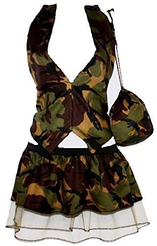 Fancy Kostüm Girls Marienkäfer - Größe: Kinder: 6-12 Jahre; Army Girl Camoflague 25.40 cm plissiert Weste, Tutu (Fancy Dress Marienkäfer Buchwoche UK