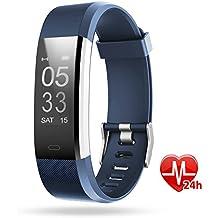 Pulsera deportiva inteligente, Lintelek Gps para running, Modo de multi-deporte, Monitor de ritmo cardíaco, sueño, Notificación de SMS, Impermeable IP67 para IOS y Android, Azul
