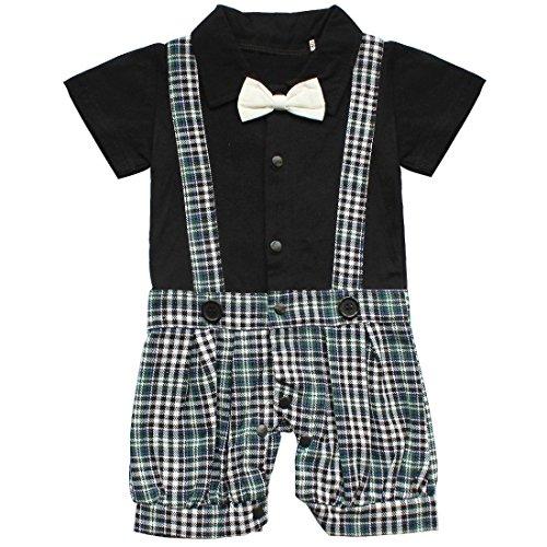 Kostüme Junge Blumenkind (YiZYiF 1pc Kinder Baby Kleinkind Junge Kleidung Spielanzug Bodysuit Kleidung Gentleman Sommer Anzug Schwarz)
