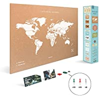 Miss Wood Map XL - Mapa del mundo de corcho, 60 x 90 cm, Blanco
