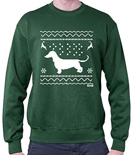 (HARIZ Herren Pullover Dackel Weihnachten Weihnachten Weihnachts Familie Tannenbaum Inkl. Geschenk Karte Dunkel Grün S)