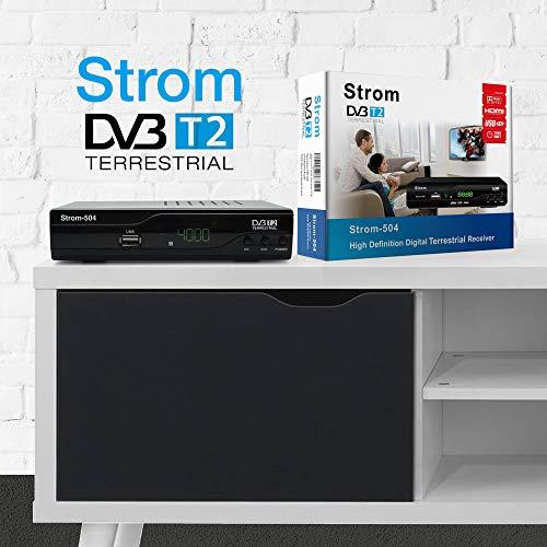 51DFh28OydL - Strom 504 Decodificador Digital Terrestre - TDT / DVB T2 / Full HD / HDMI / Receptor TV / USB / H.265 HEVC / TDT Television / DVB-T2 / 4K