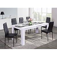 DAMIA Table a manger 180x75 cm - Blanc et noir
