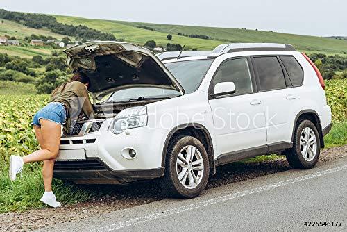 druck-shop24 Wunschmotiv: Woman in Tight Shirts New Broken car with Opened Hood #225546177 - Bild auf Leinwand - 3:2-60 x 40 cm / 40 x 60 cm -