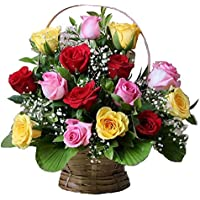 Floral Fantasy Fresh Flower Basket arrangement of 15 Mix Roses Indoor Plant (Green)