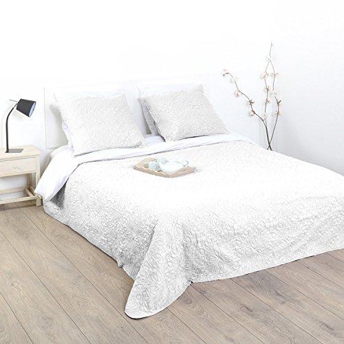 Ensemble Dessus de lit matelassé avec ses 2 Housses de coussin - Doux et chaleureux - Grande taille - Coloris IVOIRE