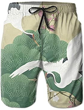 Funny Caps Flying Tsuru Crane Pine Plum Blossoms Men's/Boys Casual Swim Trunks Short Elastic Waist Beach Pants...
