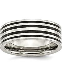 ICE CARATS Titanium Black Enamel Flat 8mm Wedding Ring Band Fashion Jewelry Gift Set For Women Heart