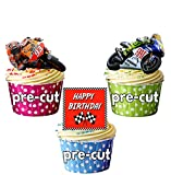 Happy Birthday Moto GP Mix 12 Esspapier Cup Cake Topper Dekoration