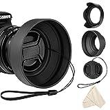 55mm Lens Hood Set for Nikon D3400 D3500 D5500 D5600 D7500 DSLR Camera with AF-P DX 18-55mm f/3.5-5.6G VR Lens, Collapsible Rubber Hood + Reversible Tulip Flower Hood + Lens Cap + Cleaning Cloth