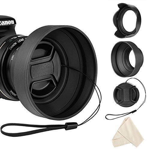 55mm Gegenlichtblende Set für Nikon D3400 D3500 D5500 D5600 D7500 AF-P DX NIKKOR 18-55mm f/3.5-5.6G VR Collapsible Rubber Lens