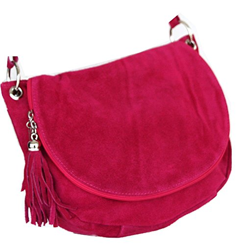 Leder- Messenger- / Umhängetasche Tasche aus echt.Velour-/ Wildleder , Minibag Italy Lila
