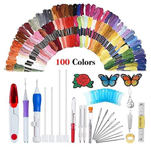 Souarts Stickgarn Set Baumwolle 100 Farben Fäden Stickerei Starter Kit Kreuzstich Häkeln DIY Nähen Cross Stitch Basteln Crafts Set (Punch-stickerei-starter-kit)