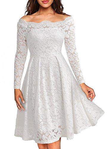 ASCHOEN Damen Spitzenkleid Abendkleid Vintage Off Schulter Knielang A-Linie Cocktailkleid Retro Spitzen Langarm Kleid Weiß