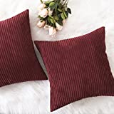 Home Brilliant Decor Super Soft Plush Corduroy Striped Accent Throw Pillow Cushion Covers for Sofa Couch Bed, Set of 2, 18' x 18' (45x45), Dark Red