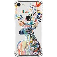 Funda iPhone 7, iPhone 8 Cover, Bestsky Patrón de Dibujos Animados de Animales Caso, Silicona Suave TPU Cayendo, Prueba de Golpes Carcasa para Apple iPhone 7 / 8 - Ciervo