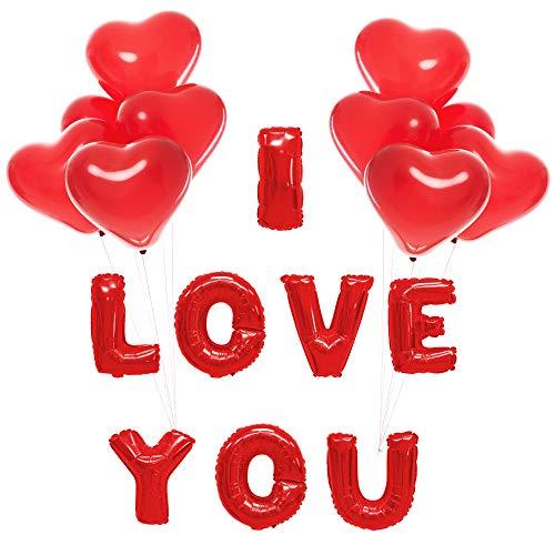 15 Globos Rojos en Forma de corazón y 1 Globo Rojo I Love You - Incluye Varita día de San Valentín - Boda Fiesta Amor decoración - Aniversarios, etc. - El Gesto romántico