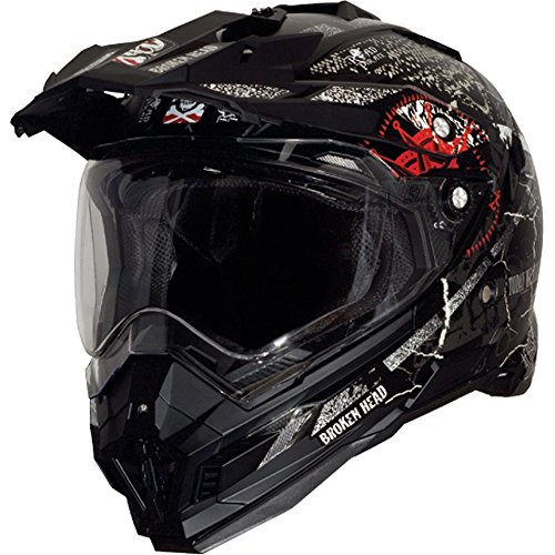 Broken Head Road Pirate Black Edition | Enduro Helm - MX Motocross Helm mit Sonnenblende Größe M (57-58 cm) - 2