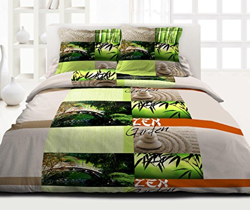 Douceur de Noches HC31290Zen Garden Juego 3Piezas Funda nórdica de algodón, 220x 240cm), Multicolor