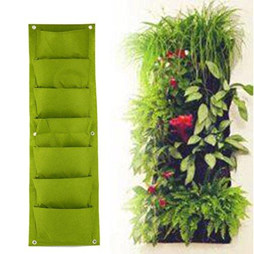 Green Vertical Garden Planter Wall-mounted Planting Flower Grow Bag 7 Pocket