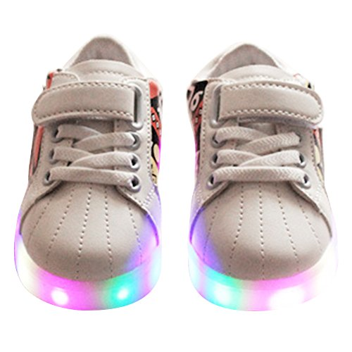 hibote Kleinkind Jungen Mädchen LED Schuhe leuchten Sport Turnschuhe Weiß