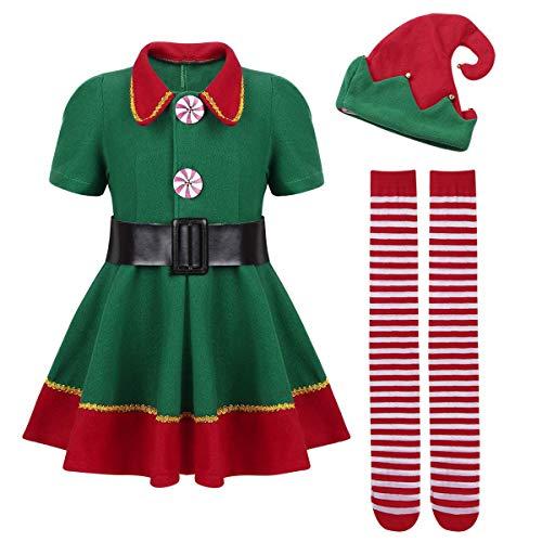 URAQT Mädchen Weihnachts-Outfit Elf Kostüm -