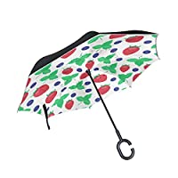 JSTEL Double Layer Inverted Berries Strawberry Leaf Umbrella Cars Reverse Windproof Rain Umbrella for Car Outdoor With C Shaped Handle