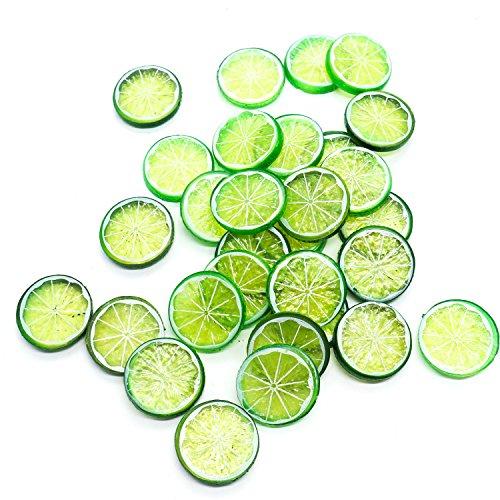 Buorsa 30 Stück Mini Kleine Simulation Zitrone Scheiben Kunststoff Fake Künstliche Obst Modell Party Küche Hochzeit Home Dekoration (grün) - Zitrone Scheiben Künstliche