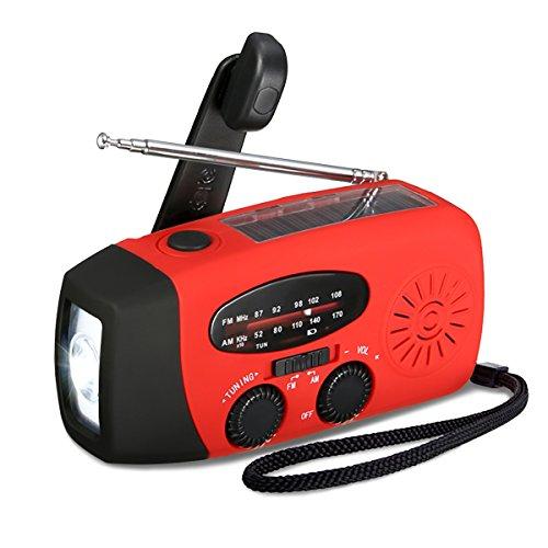 (Aktualisierte Version)EIVOTOR Tragbar Solar Radio, AM/FM Kurbelradio Dynamo Radio mit 1W LED Taschenlampe USB 1000mAh Notfall Powerbank Handy Ladegerät für Wandern Camping Outdoor Survival