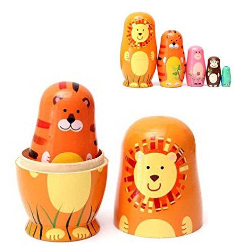 Cute Cartoon Tier Nesting Dolls - Kootk 5 Stück / Set handgemachte Matryoshka Tier russische Puppe für Kinder Spielzeug Geburtstag Weihnachten Ostern Geschenk