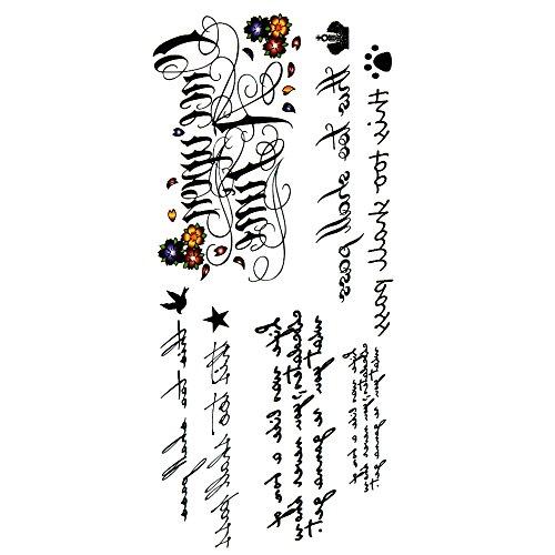 Oottati tatuaggi temporanei sexy inglese frase lettere poesia d'amore (set di 2)
