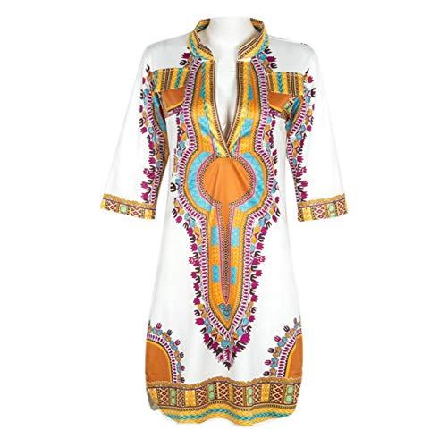 DRLVMO Kleid Neue Hohe Qualität Sommer Casual V-Ausschnitt Kleider Traditionelle Afrikanische Print Kleid Frauen - Kleider Neue