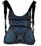 Guru-Shop Rucksack, Backpack, Freizeitrucksack, Hippie Rucksack - Schwarz/blau, Herren/Damen, Baumwolle, Size:One Size, 33x30x6 cm, Ausgefallene Stofftasche