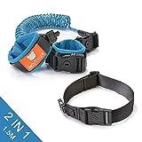 Kit 2 in 1 con cinture e bracciale antismarrimento per la sicurezza dei bambini, imbracatura con cinghie di sicurezza per passeggiare con i bambini (con serratura) (blue+black+1.5meters)