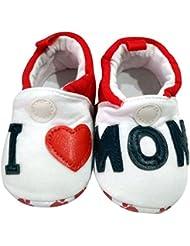 C2BB - Chaussons bébé enfant toile et tissu   I love mum