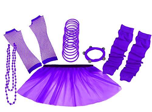 A-Express 80er Damen Neon Tütü Rock Ebene Beinstulpen Handschuhe Halskette Tüll Fluo Ballett Verkleidung Party Tutu Rock Kostüm Set (46-54, Lila) (Rock Damen Tutu)