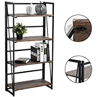 Coavas Folding Bookcase 4-Tiers Bookshelf Wood Rack Cabinet No-Assembly Industrial Display Shelves Organizer for Books Plants Kitchen