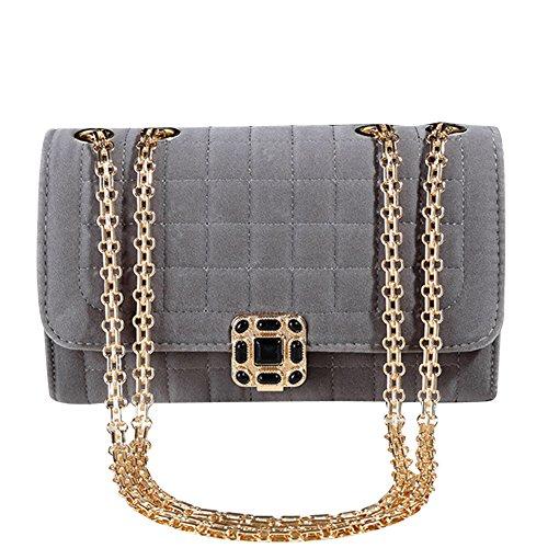 Damen Kleine Umhängetasche Schulterkette Gitter Abendtasche Handtasche Satchel Messenger Purse Tasche Gold Schwarz Gold Grau
