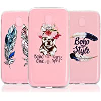 [3-Pack] Galaxy J5 2017 (EU Model) Case, Galaxy J5 2017 (EU Model) Cover - Vandot 3 Pcs Clear Flexible Soft TPU Case Easy Grip Ultra Thin Slim Fit HD Painting Pattern Non-Slip Scratch Resistant Bumper Practical Protective Case Cover Pack of 3 for Samsung Galaxy J5 J530 2017 - Feathers / Chic Puppy Dog / Boho Feather