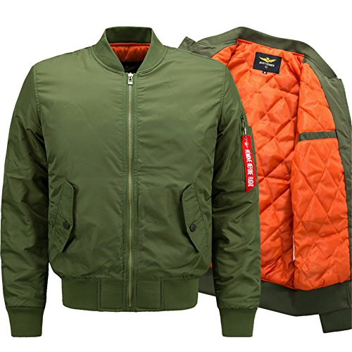 YYZYY Herren Herbst Winter Dick Warm Militär Bomberjacke Air Force Patches Leichte Bomber Jacken Mäntel Mens Light Jacket Coat Parka...