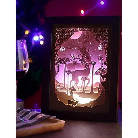 ZSQ 23*23*6CM Navidad presente novela 3 D Sketch tallado de papel mural creativa Lámpara LED Luz Lámpara del bastidor , 220v #679