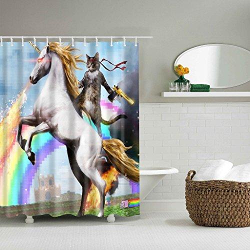 GUBENM Duschvorhang, Funny Unicorn und Cat Polyester Stoff wasserdicht Duschvorhang Dekor 12 Haken Dusche Vorhang-stab-hardware